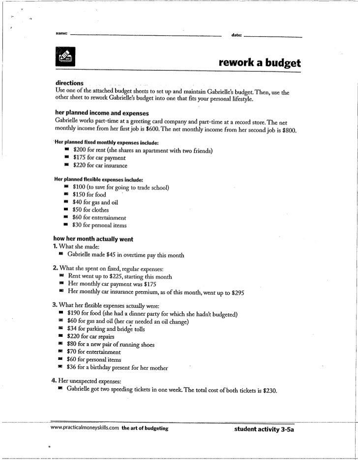Rework a budget
