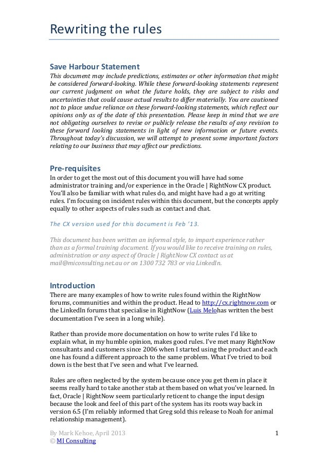 Rewriting the rulesBy Mark Kehoe, April 2013© MI Consulting1Save Harbour StatementThis document may include predictions, e...