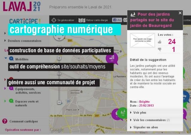 cartographie numérique construction de base de données participatives outil de compréhension site/souhaits/moyens génère a...