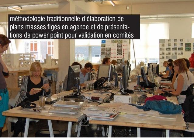 AgenceBig méthodologie traditionnelle d'élaboration de plans masses figés en agence et de présenta- tions de power point p...