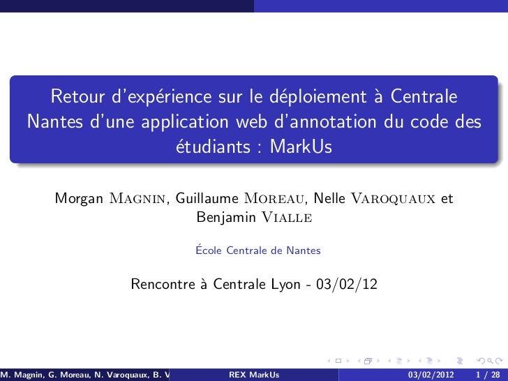 Retour d'exp´rience sur le d´ploiement ` Centrale                     e              e          a      Nantes d'une applic...