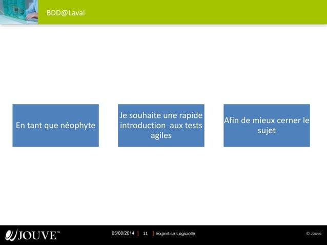 © JouveExpertise Logicielle05/08/2014 11 BDD@Laval En tant que néophyte Je souhaite une rapide introduction aux tests agil...