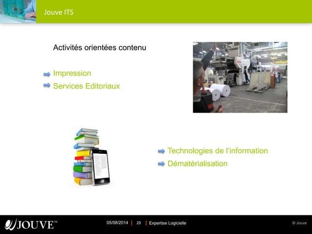 © JouveExpertise Logicielle05/08/2014 20 Jouve ITS Activités orientées contenu Impression Services Editoriaux Technologies...