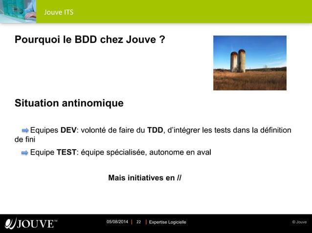 © JouveExpertise Logicielle05/08/2014 22 Jouve ITS Pourquoi le BDD chez Jouve ? Situation antinomique Equipes DEV: volonté...