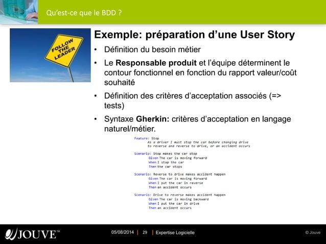 © JouveExpertise Logicielle05/08/2014 29 Qu'est-ce que le BDD ? Exemple: préparation d'une User Story • Définition du beso...