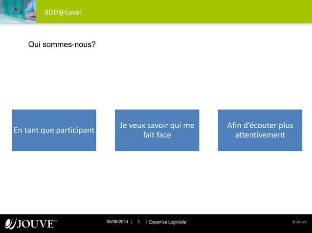 © JouveExpertise Logicielle05/08/2014 3 BDD@Laval En tant que participant Je veux savoir qui me fait face Afin d'écouter p...