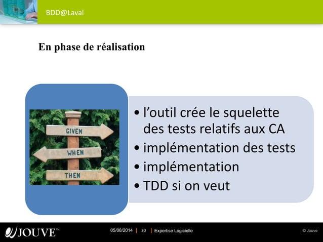 © JouveExpertise Logicielle05/08/2014 30 BDD@Laval • l'outil crée le squelette des tests relatifs aux CA • implémentation ...