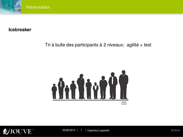 © JouveExpertise Logicielle05/08/2014 7 Présentation Icebreaker Tri à bulle des participants à 2 niveaux: agilité + test