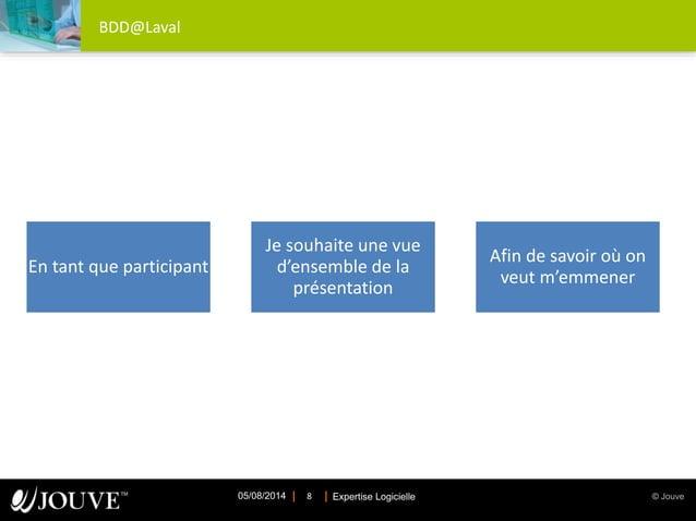 © JouveExpertise Logicielle05/08/2014 8 BDD@Laval En tant que participant Je souhaite une vue d'ensemble de la présentatio...