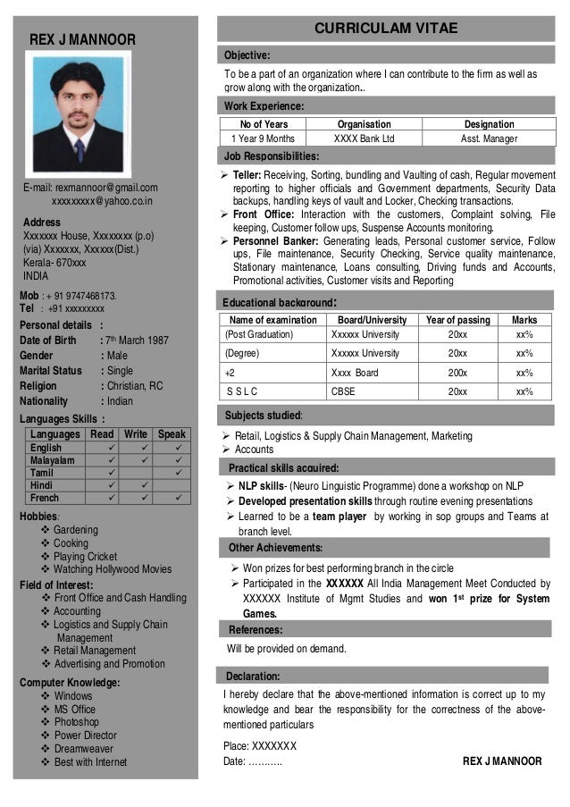 Charming Resume 1 Page. CURRICULAM VITAE REX J MANNOOR ...  Single Page Resume