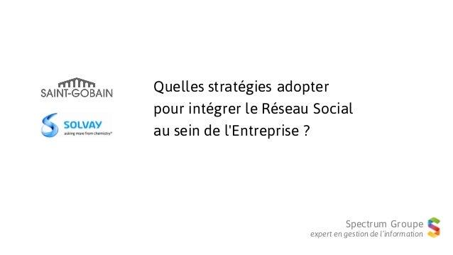 Spectrum Groupe expert en gestion de l'information Quelles stratégies adopter pour intégrer le Réseau Social au sein de l'...