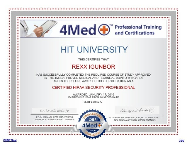 HIPAA CERTIFIED SECURITY PROFESSIONAL