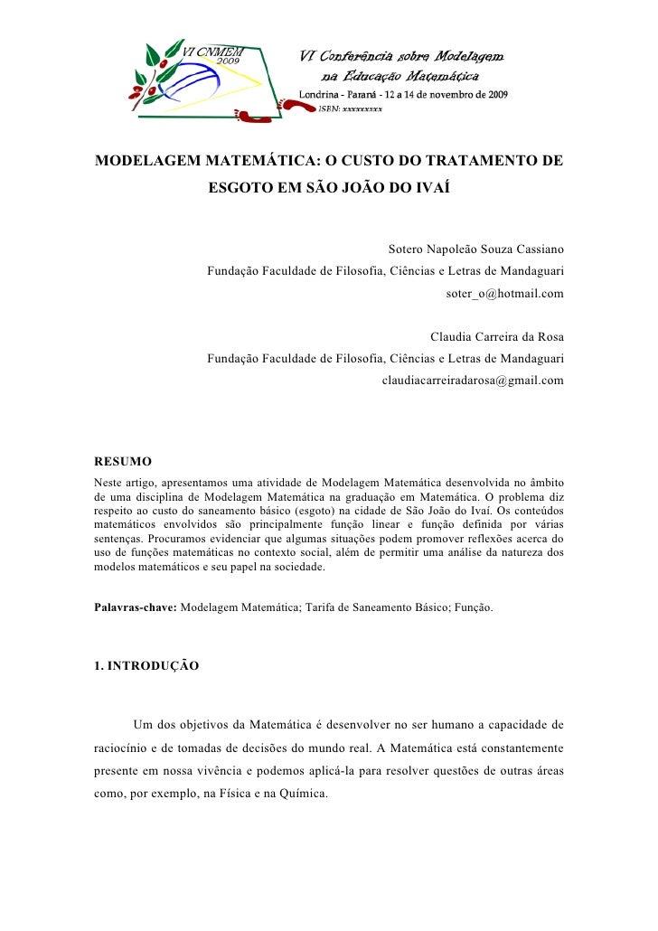 MODELAGEM MATEMÁTICA: O CUSTO DO TRATAMENTO DE                       ESGOTO EM SÃO JOÃO DO IVAÍ                           ...