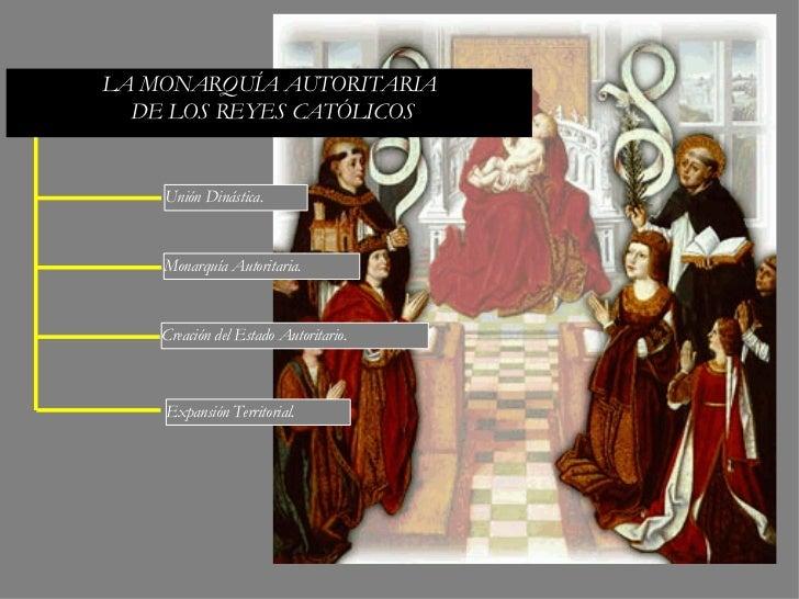 LA MONARQUÍA AUTORITARIA DE LOS REYES CATÓLICOS Monarquía Autoritaria. Unión Dinástica. Expansión Territorial. Creación de...