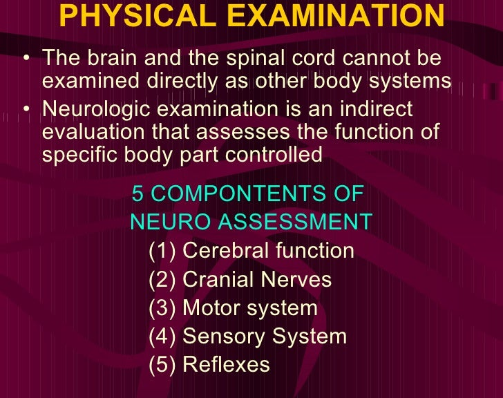 PHYSICAL EXAMINATION <ul><li>The brain and the spinal cord cannot be examined directly as other body systems </li></ul><ul...