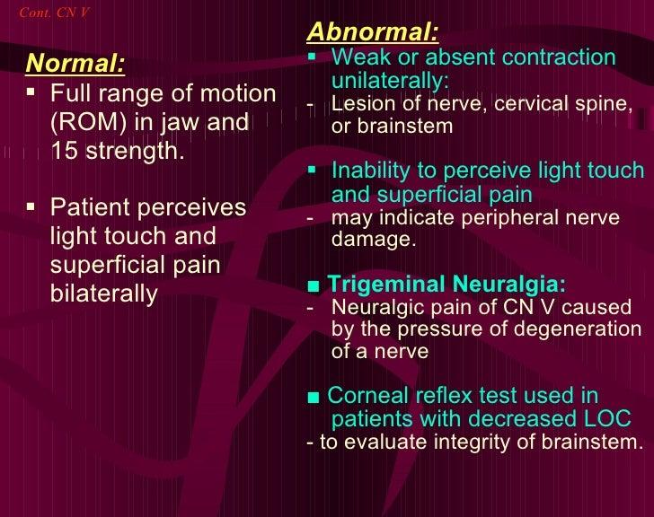 <ul><li>Normal: </li></ul><ul><li>Full range of motion (ROM) in jaw and 15 strength. </li></ul><ul><li>Patient perceives l...