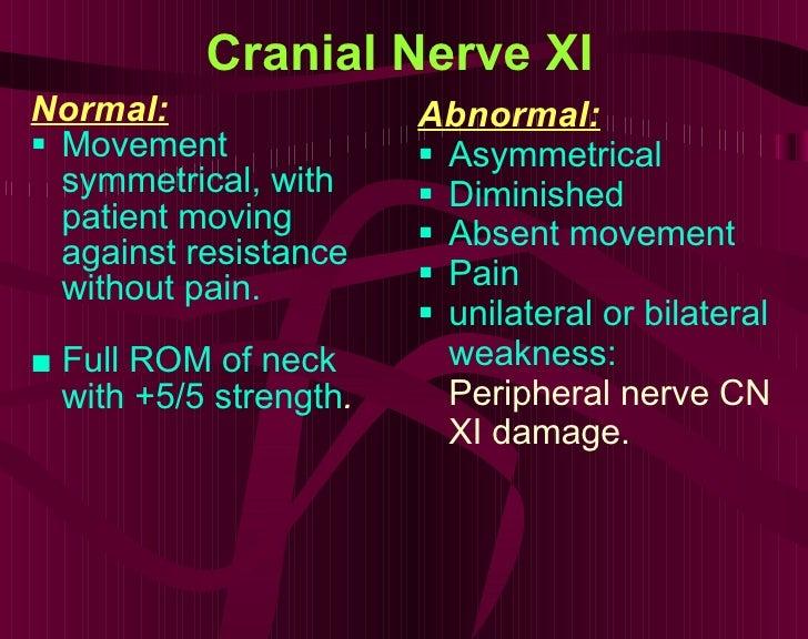 Cranial Nerve XI <ul><li>Normal: </li></ul><ul><li>Movement symmetrical, with patient moving against resistance without pa...