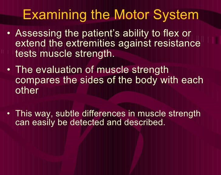 Examining the Motor System <ul><li>Assessing the patient's ability to flex or extend the extremities against resistance te...