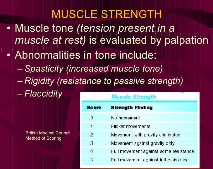 MUSCLE STRENGTH <ul><li>Muscle tone  (tension present in a muscle at rest)  is evaluated by palpation </li></ul><ul><li>Ab...