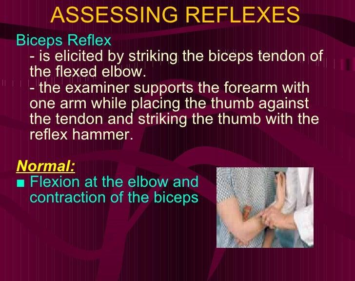 ASSESSING REFLEXES <ul><li>Biceps Reflex </li></ul><ul><li>- is elicited by striking the biceps tendon of the flexed elbow...