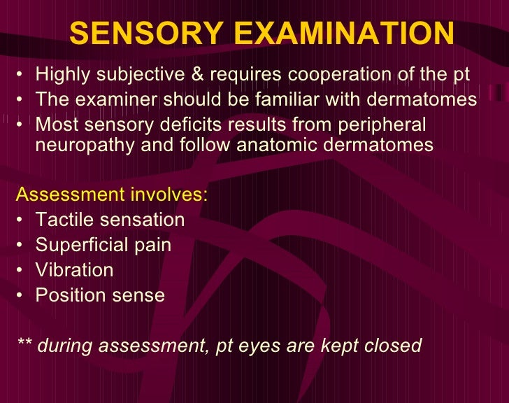 SENSORY EXAMINATION <ul><li>Highly subjective & requires cooperation of the pt </li></ul><ul><li>The examiner should be fa...