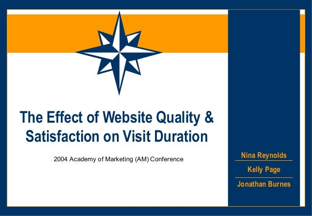 The Effect of Website Quality & Satisfaction on Visit Duration     2004 Academy of Marketing (AM) Conference              ...