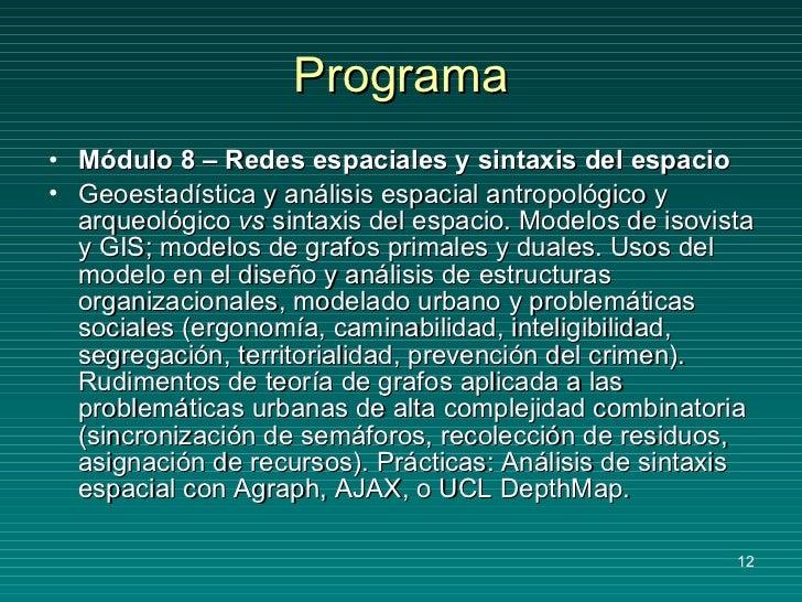 Programa <ul><li>Módulo 8 – Redes espaciales y sintaxis del espacio </li></ul><ul><li>Geoestadística y análisis espacial a...