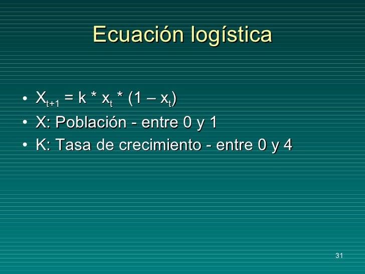 Ecuación logística <ul><li>X t+1  = k * x t  * (1 – x t ) </li></ul><ul><li>X: Población - entre 0 y 1 </li></ul><ul><li>K...