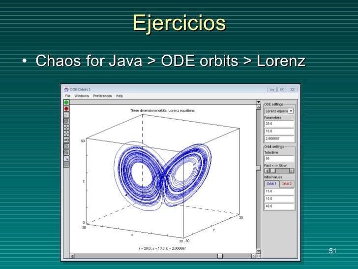 Ejercicios <ul><li>Chaos for Java > ODE orbits > Lorenz </li></ul>
