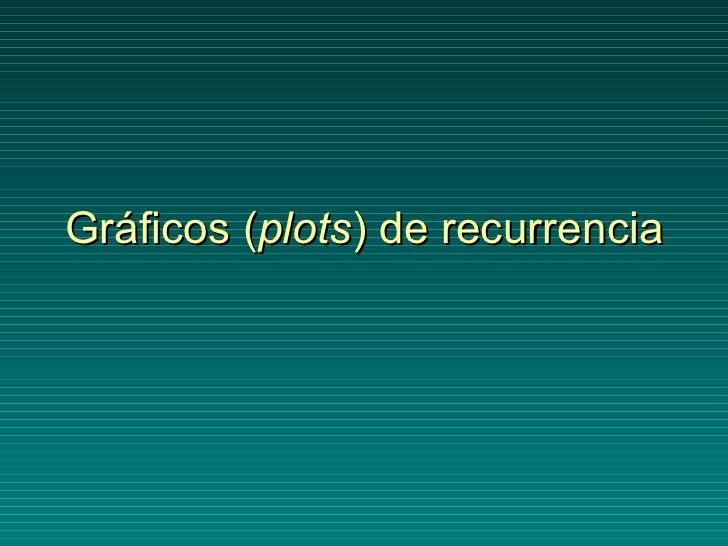 Gráficos ( plots ) de recurrencia