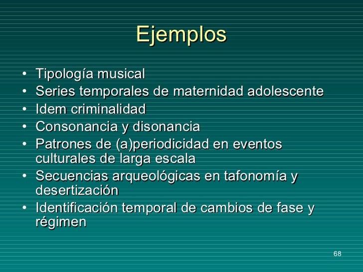 Ejemplos <ul><li>Tipología musical </li></ul><ul><li>Series temporales de maternidad adolescente </li></ul><ul><li>Idem cr...