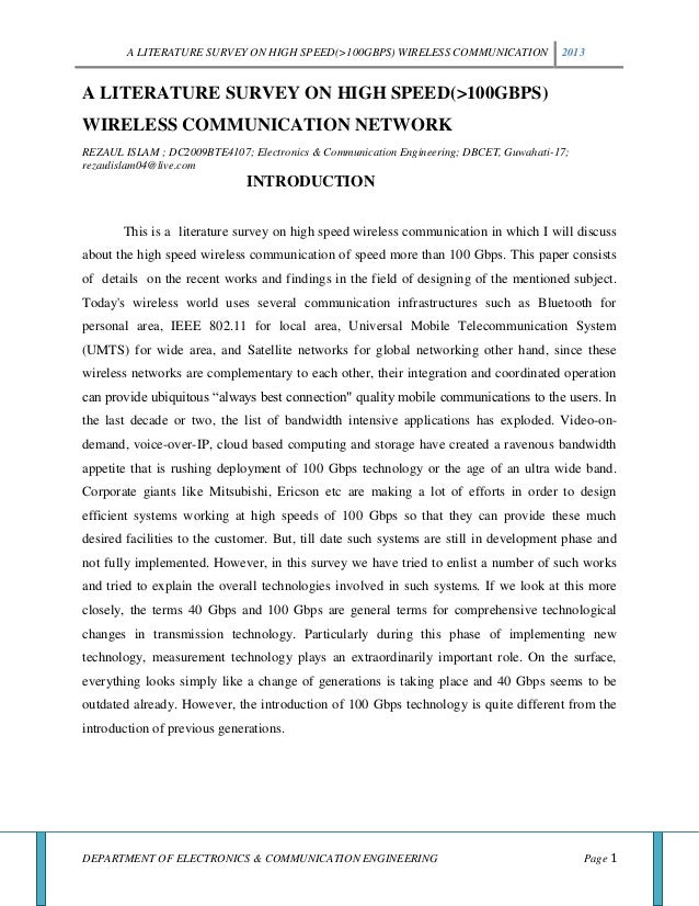 A LITERATURE SURVEY ON HIGH SPEED(>100GBPS) WIRELESS COMMUNICATION 2013DEPARTMENT OF ELECTRONICS & COMMUNICATION ENGINEERI...