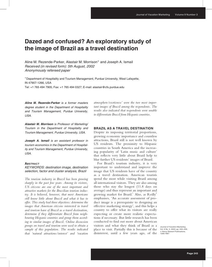 Journal of Vacation Marketing        Volume 9 Number 3     Dazed and confused? An exploratory study of the image of Brazil...