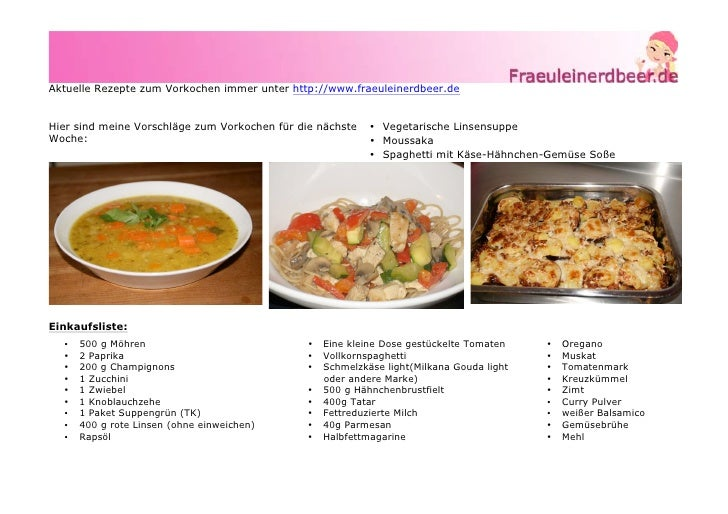 Aktuelle Rezepte zum Vorkochen immer unter http://www.fraeuleinerdbeer.deHier sind meine Vorschläge zum Vorkochen für die ...