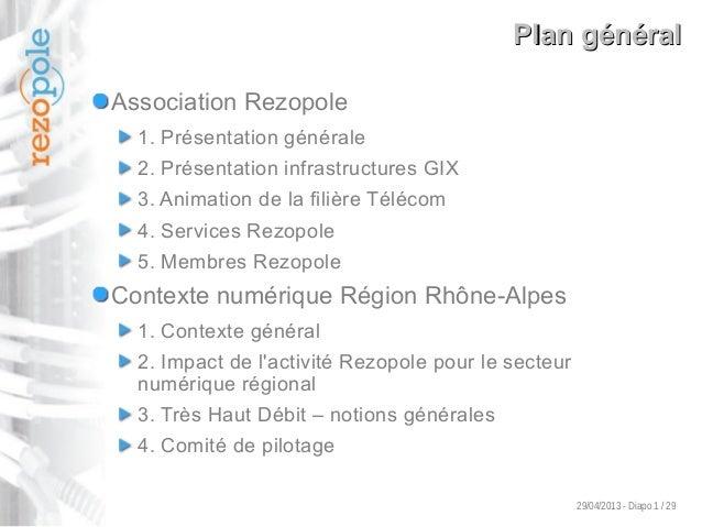 29/04/2013 - Diapo 1 / 29 Plan généralPlan général Association Rezopole 1. Présentation générale 2. Présentation infrastru...