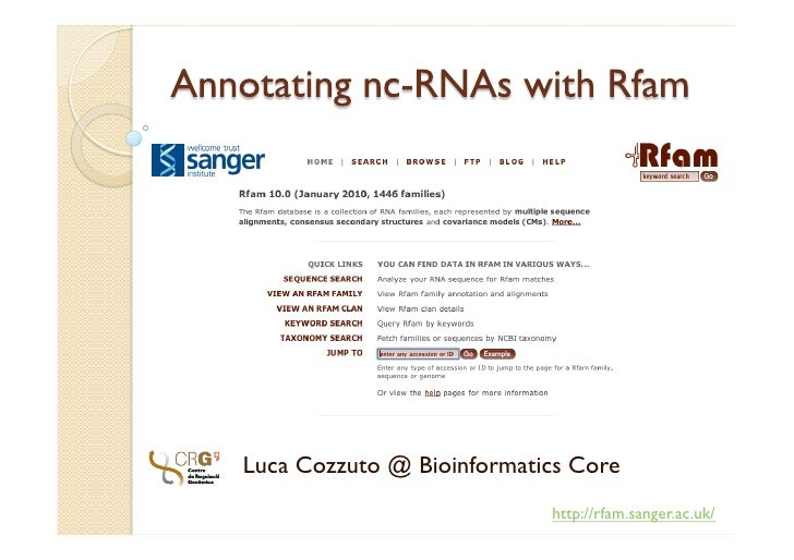 Annotating nc-RNAs with Rfam<br />Luca Cozzuto @ Bioinformatics Core<br />http://rfam.sanger.ac.uk/<br />