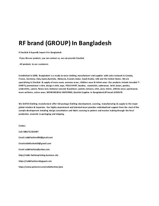 RF brand (GROUP) In Bangladesh # Stocklot # Export& Import # In Bangladesh If you like our product, you can contact us, we...