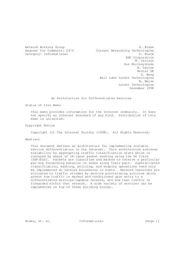 Network Working Group                                        S. BlakeRequest for Comments: 2475            Torrent Network...