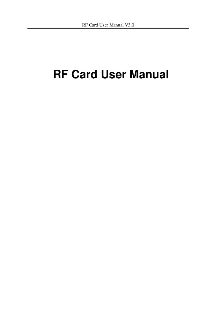 RF Card User Manual V3.0RF Card User Manual