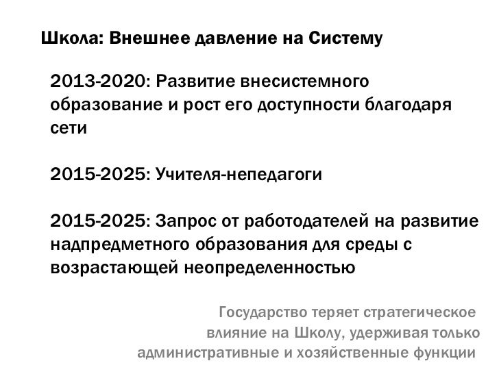 Школа: Внешнее давление на Систему 2013-2020: Развитие внесистемного образование и рост его доступности благодаря сети 201...