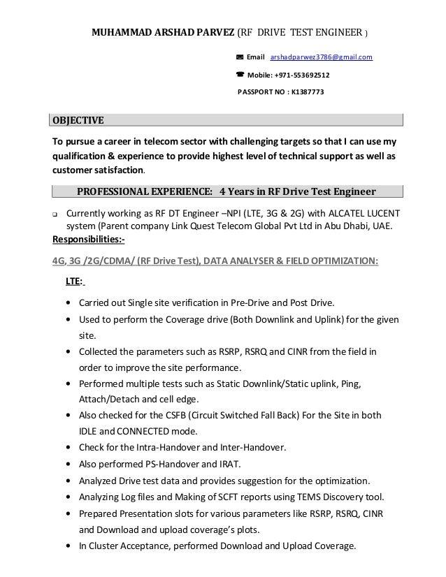 parvez rf drive test engineer email arshadparwez3786gmailcom rf test