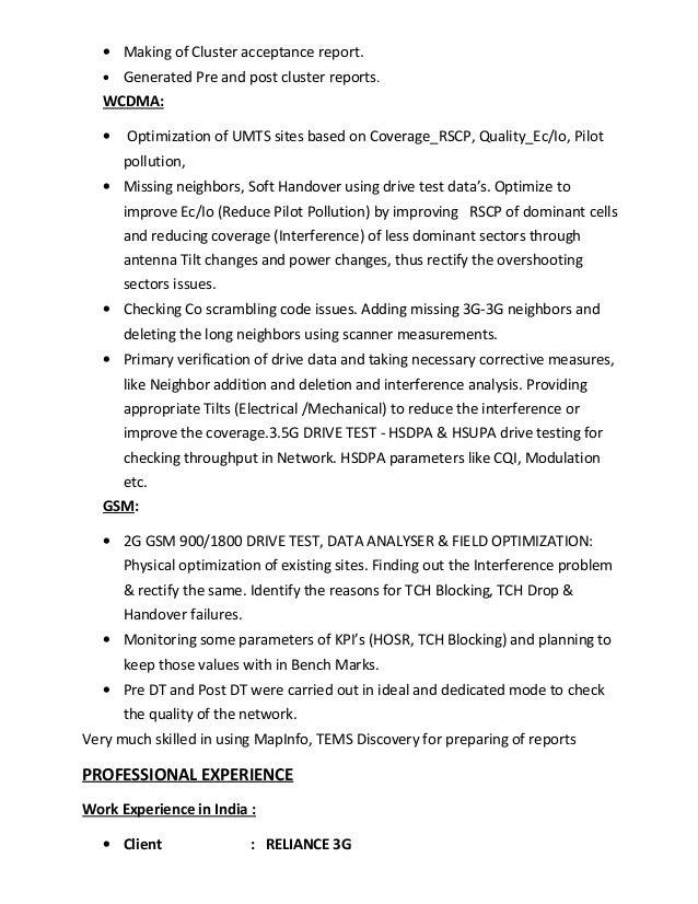 2 - Drive Test Engineer Sample Resume