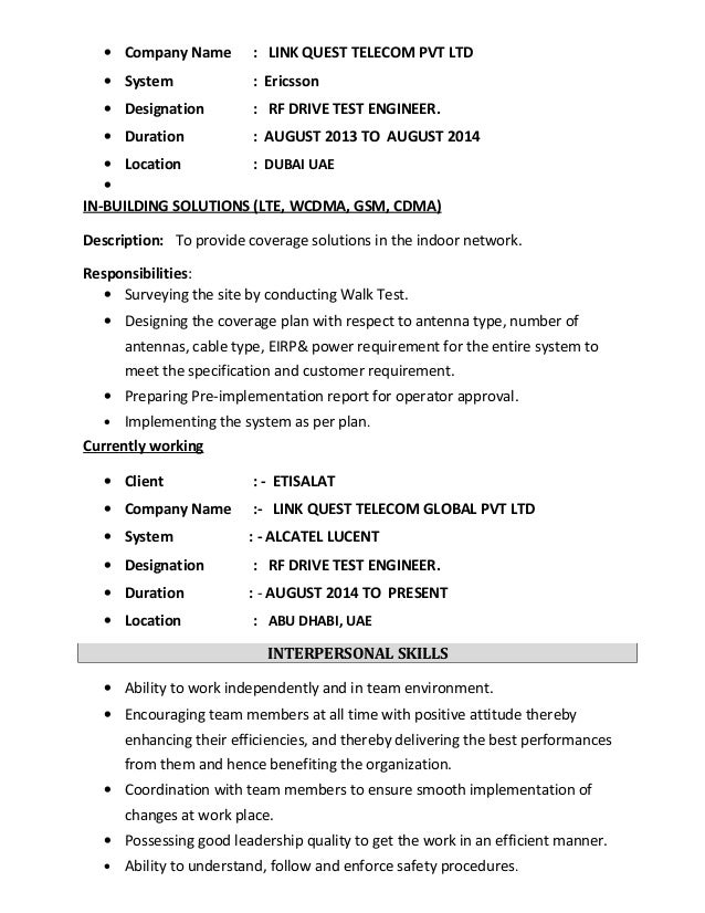 etisalat 4 - Rf Design Engineer Sample Resume