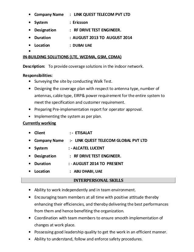 etisalat 4 - Antenna Test Engineer Sample Resume