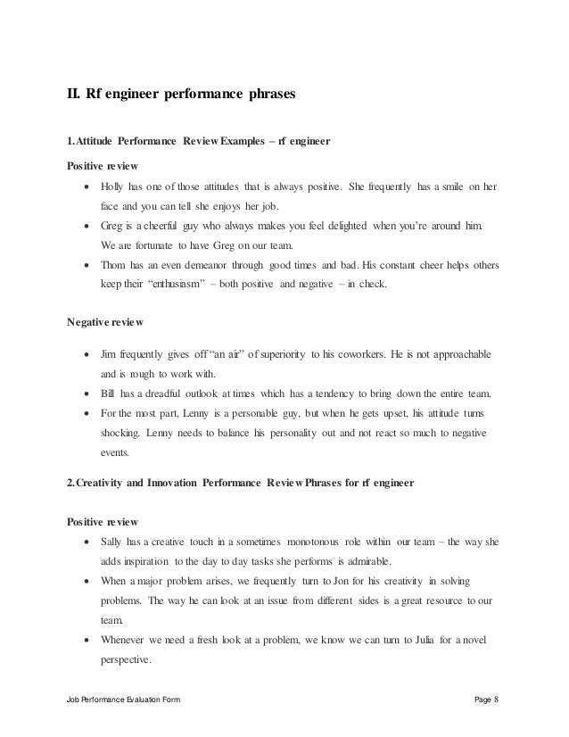 Rf engineer performance appraisal