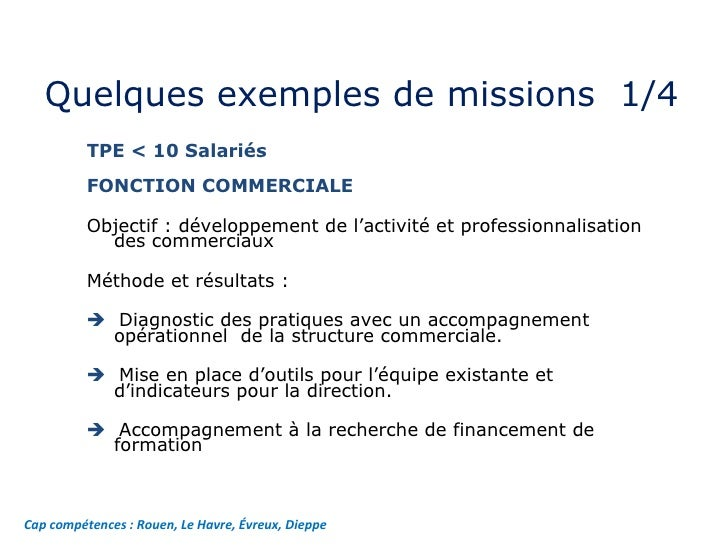 Quelques exemples de missions  1/4  Cap compétences : Rouen, Le Havre, Évreux, Dieppe TPE < 10 Salariés  FONCTION COMMERCI...