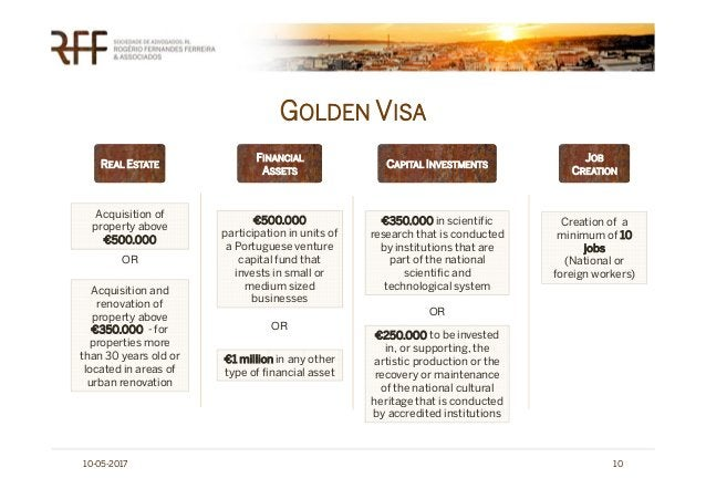 GOLDEN VISA 10-05-2017 10 JOB CREATION CAPITAL INVESTMENTS Acquisition of property above €500.000 Acquisition and renovati...