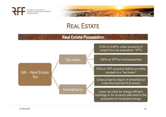 REAL ESTATE 10-05-2017 12 IMI – Real Estate Tax Tax rates 0.3% to 0.45%: urban property (if subject to a tax evaluation - ...