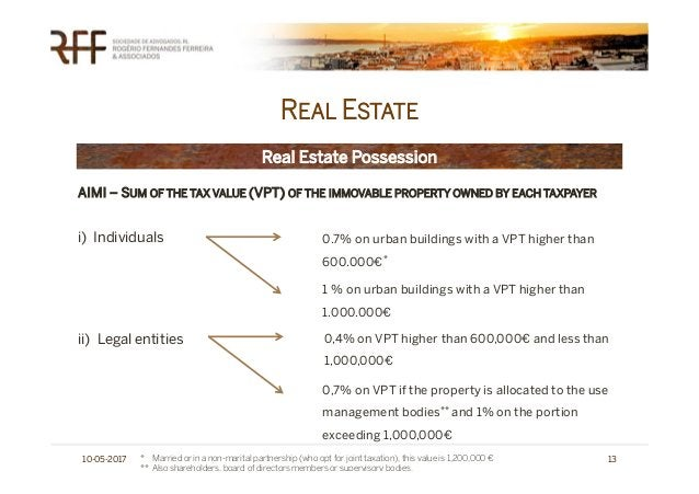 REAL ESTATE 10-05-2017 13 Real Estate Possession AIMI – SUM OF THE TAX VALUE (VPT) OF THE IMMOVABLE PROPERTY OWNED BY EACH...