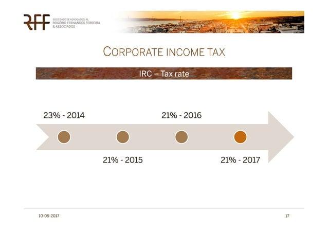 CORPORATE INCOME TAX 10-05-2017 17 IRC – Tax rate 23% - 2014 21% - 2015 21% - 2016 21% - 2017
